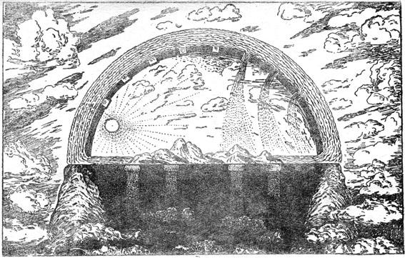 Библейская картина вселенной, весьма напоминающая представление о мире древних вавилонян. Земля покоится на столбах и окружена «нижними водами». Над нею находится твердое небо, образующее небесный океан — «высшие воды». К «тверди» прикреплены светила; в ней также имеются «окошки», из которых льется дождевая вода, когда они открыты.(Оригинальный рисунок автора).