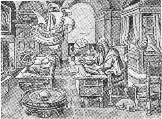 Астроном конца средневековья в своем кабинете (с гравюры Страдануса 1520 г.).