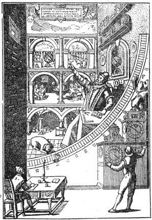 Тихо Браге в своей обсерватории руководит измерением положения  небесных светил.
