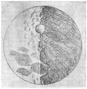 Вид лунной   поверхности.   Рисунок   Галилея   в «Звездном вестнике».