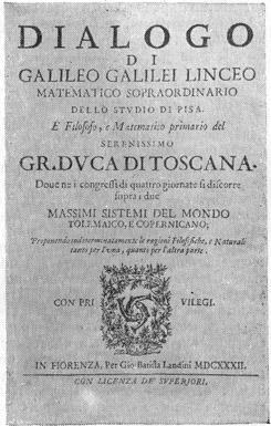 Титульный лист «Диалога» Галилея.