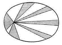Второй закон Кеплера, называемый «законом площадей». Заштрихованные площади, описанные радиусом-вектором планеты в равные промежутки времени, равны между собой. Ясно видно, что планета движется быстрее (проходит большую часть эллипса), когда находится ближе к Солнцу, помещающемуся в одном из фокусов эллипса (этот эллипс дает сильно преувеличенное изображение орбиты).