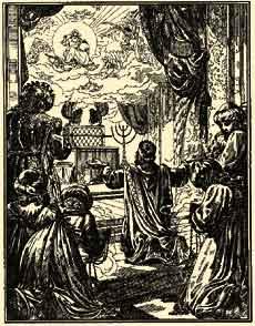В день освящения Храма, когда Ковчег Завета был внесен священниками в Святая Святых, произошло третье явление Шехины, возвестившее о том, что Господь в знак Своего благоволения явился в виде дивного облака, осенившего весь Храм. Соломон приблизился к Жертвеннику, пал на колени и, возведя к небу руки, молился о том, чтобы Храм всегда был местом пребывания Божьей благодати и славы.